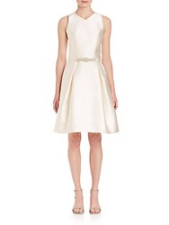 Theia Bead Embellished Belted Dress Ivory