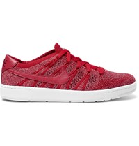 Nike Tennis Classic Ultra Leather Trimmed Flyknit Mesh Sneakers Red