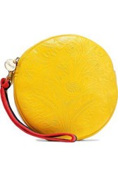 Clare V. Woman Circle Embossed Leather Clutch Yellow