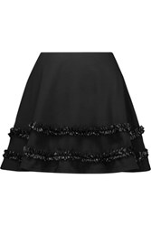 Mcq By Alexander Mcqueen Ruffled Faux Leather Trimmed Cotton Twill Mini Skirt Black