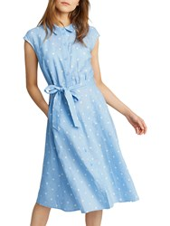 c48bcc20566 Joules Alisandra Capped Sleeve Shirt Dress With Tie Belt Light Blue Spot