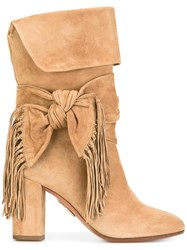 Aquazzura Bow Detail Fringed Boots Nude Neutrals