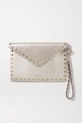 Valentino Garavani Rockstud Metallic Leather Pouch One Size