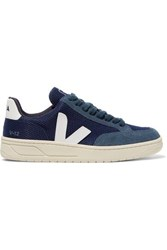 Veja V 12 Leather Trimmed Mesh And Suede Sneakers Navy