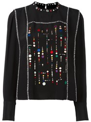Isabel Marant Embroidered Long Sleeved Blouse Black