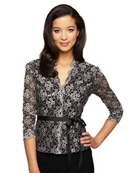 Alex Evenings Graphic Floral Print Blouse With Tie Belt Black White