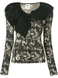 Jean Paul Gaultier Vintage Faces Printed Cardigan Black