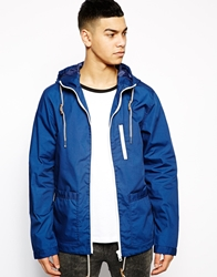 Solid Solid Jacket With Patch Pockets Blue