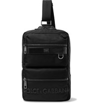 Dolce And Gabbana Logo Detailed Leather Trimmed Canvas Backpack Black