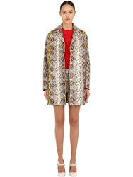 Rochas Snake Printed Leather Coat Multicolor