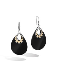 Dot Carved Black Onyx Drop Earrings Women's Silver John Hardy