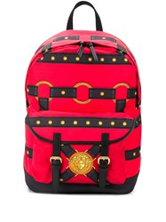 Versace Strappy Printed Backpack Red