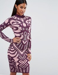 Wow Couture Knitted Bandage Dress In Jacquard Rose Pink Multi