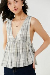 Urban Outfitters Uo Melody Plunging Babydoll Top Blue Multi