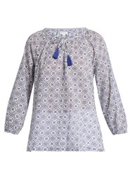 Velvet By Graham And Spencer Hollie Geometric Print Cotton Top Blue White