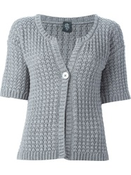 Eleventy Short Sleeve Cardigan Grey
