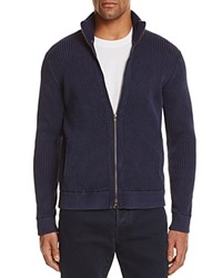 Bloomingdale's The Men's Store At Ribbed Cotton Zip Cardigan Sweater True Navy