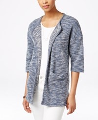 G.H. Bass And Co. Heathered Open Front Cardigan Midnight Combo