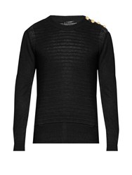 Balmain Button Shoulder Distressed Linen Sweater Black