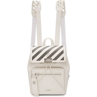 Off White And Black Diag Binder Clip Backpack