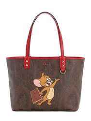 Etro Printed Coated Canvas Shopping Bag Brown