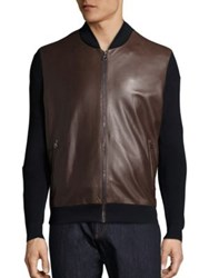 Salvatore Ferragamo Leather And Wool Blend Jacket Navy