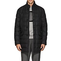 Moncler Keid Down Quilted Wool Flannel Coat Charcoal