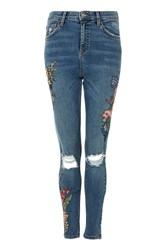 Topshop Moto Tropical Embroidered Jamie Jeans Blue