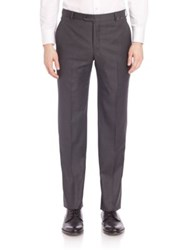 Hickey Freeman B Series Flat Front Wool Pants Grey
