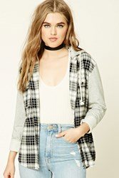 Forever 21 Plaid Flannel Hoodie Cream Black