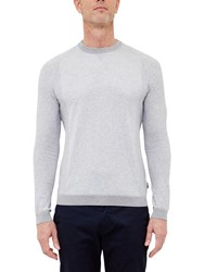 Ted Baker T For Tall Braintt Textured Crew Neck Jumper Grey Marl
