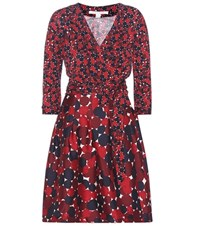 Diane Von Furstenberg Jewel Printed Wool And Silk Dress Red