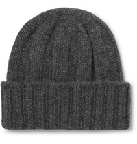 Beams Plus Ribbed Cashmere Beanie Gray
