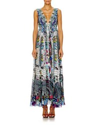 Camilla Silk Crepe Drawstring Maxi Dress Masmosh
