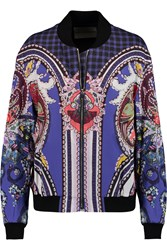 Mary Katrantzou Printed Cotton Blend Crepe Bomber Jacket Blue