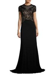 David Meister Beaded Jersey Gown Black