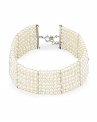 Utopia Seven Strand Pearl Choker Necklace With Diamonds