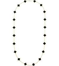Van Cleef And Arpels Vintage Alhambra Gold Onyx Necklace Yellow Gold