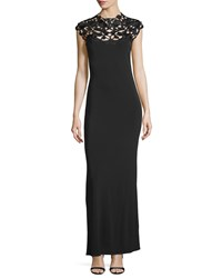 Natori Embroidered Yoke Column Gown Black