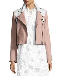 Iro Annik Colorblock Leather Moto Jacket Pink