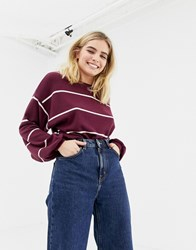 New Look Balloon Sleeve Jumper In Red Stripe Red Pattern