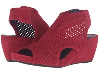 Vaneli Inez Red Suede Gunmetal Studs Women's Wedge Shoes