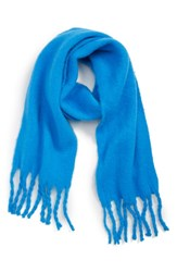Topshop Heavy Brushed Scarf Bright Blue