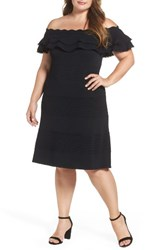 Eliza J Plus Size Women's Off The Shoulder Knit Ruffle Fit And Flare Dress Black