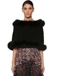 Elie Saab Hooded Wool And Cashmere Cape W Fur Black