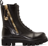 Versus Black Safety Pin Combat Boots