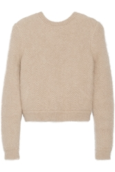 Givenchy Beige Angora Blend Sweater With Elasticated Back Band