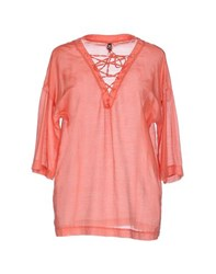 European Culture Shirts Blouses Women Coral
