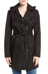 Vince Camuto Women's Belted Asymmetrical Zip Trench Coat Black