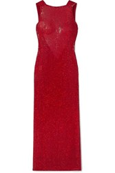 Ashish Suzi Draped Sequined Georgette Gown Red